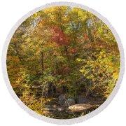 Autumn Glory - Unami Creek Sumneytown Pennsylvania Usa Round Beach Towel
