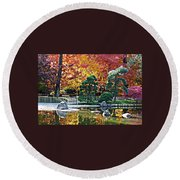 Autumn Glow In Manito Park Round Beach Towel
