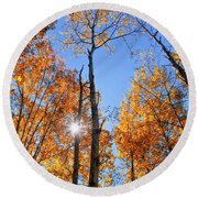 Autumn Gold Sunburst Round Beach Towel
