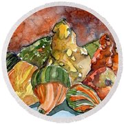 Autumn Gourds Round Beach Towel