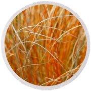 Autumn Grass Abstract Round Beach Towel