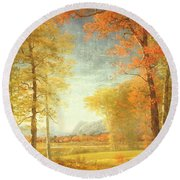 Autumn In America Round Beach Towel
