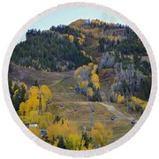 Autumn In Aspen Round Beach Towel
