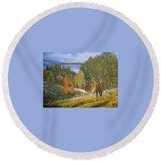 Autumn In Big Bear, 18x24, Oil, '08 Round Beach Towel