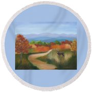 Autumn In Blue Ridge Mountains Virginia Round Beach Towel