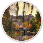 Autumn In Boston Garden Round Beach Towel