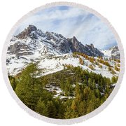 Autumn In French Alps - 18 Round Beach Towel