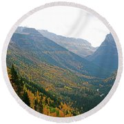 Autumn In Glacier Round Beach Towel