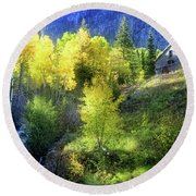 Autumn In Ophir - Colorado - Aspens Round Beach Towel