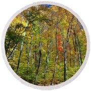Autumn In Schooley's Mountain Park 2 Round Beach Towel