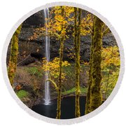 Autumn In Silver Falls Round Beach Towel