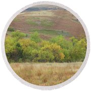 Autumn In Slope County Round Beach Towel