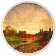 Autumn In The City 2 Round Beach Towel