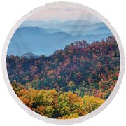 Autumn In The Great Smoky Mountains Round Beach Towel