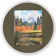 Autumn In The Mountans Round Beach Towel