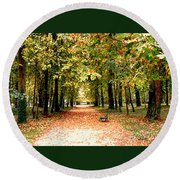 Autumn In The Park Round Beach Towel