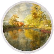 Autumn In The Pond Round Beach Towel