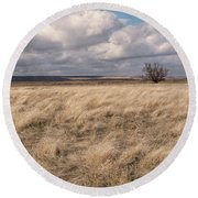 Autumn In The Steppes Round Beach Towel