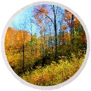 Autumn In The Tennessee Hills Round Beach Towel