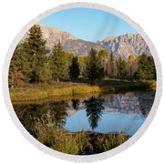 Autumn In The Tetons Round Beach Towel