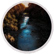 Autumn In The Tributary Round Beach Towel