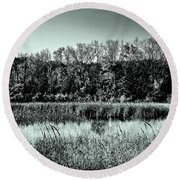 Autumn In The Wetlands - Black And White Round Beach Towel