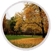 Autumn In Turin, Italy Round Beach Towel
