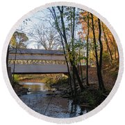 Autumn In Valley Forge - Knox Covered Bridge Round Beach Towel