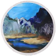 Autumn In Yosemite Round Beach Towel