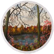 Autumn Lake View Round Beach Towel