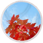 Autumn Landscape Fall Leaves Blue Sky White Clouds Baslee Round Beach Towel