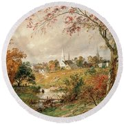 Autumn Landscape Round Beach Towel