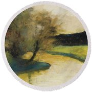 Autumn Landscape Of Brook In The Evening Light Round Beach Towel