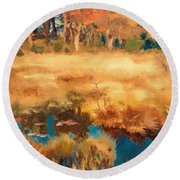 Autumn Landscape With Fox Round Beach Towel