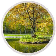 Autumn Landscape With Red Tree Round Beach Towel
