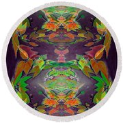 Autumn Leaf Delight Round Beach Towel