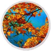 Autumn Leaves 7 Round Beach Towel