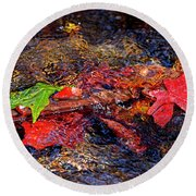 Autumn Leaves Abstract Round Beach Towel
