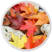 Autumn Leaves Art Print Coastal Fossil Rocks Baslee Troutman Round Beach Towel