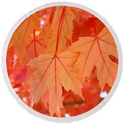 Autumn Leaves Art Prints Orange Fall Leaves Baslee Troutman Round Beach Towel