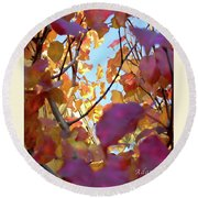 Autumn Leaves In Blue Sky Round Beach Towel