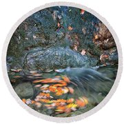Autumn Leaves In Waterfall Round Beach Towel