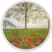 Autumn Leaves Near To Far Super High Resolution Round Beach Towel