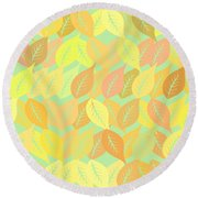 Autumn Leaves Pattern Round Beach Towel