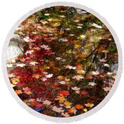 Autumn Leaves Reflections Round Beach Towel