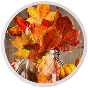 Autumn Leaves Still Life Round Beach Towel by Amanda Elwell