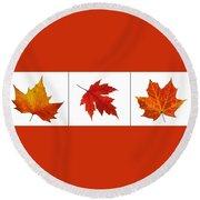 Autumn Leaves Triptych Round Beach Towel