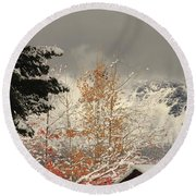 Autumn Leaves Winter Snow Round Beach Towel