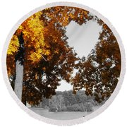 Autumn Love  Round Beach Towel