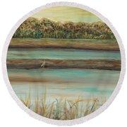 Autumn Marsh And Bird Round Beach Towel